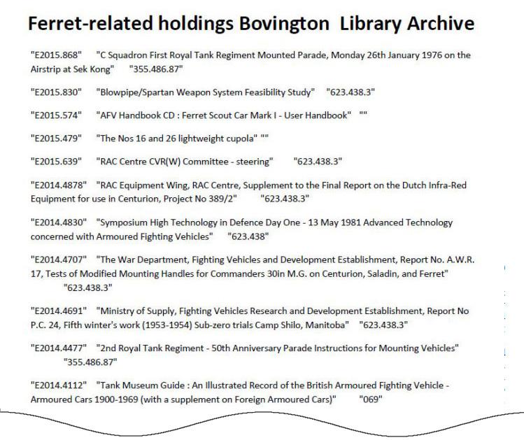 Ferret holdings Bovington