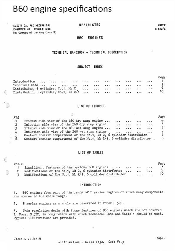 B60 spec title page
